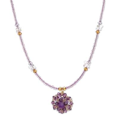 Amethyst and citrine pendant necklace, 'Purple Nosegay' - Amethyst and citrine pendant necklace