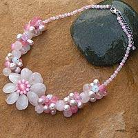 Pearl and rose quartz choker, 'Sweet Spirit' - Pearl and rose quartz choker