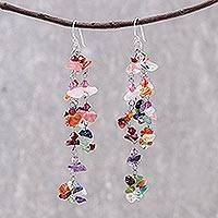 Gemstone earrings, 'Rainbow Rain'