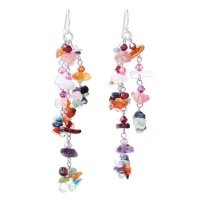 Gemstone earrings, 'Rainbow Rain' - Hand Made Multigem Earrings