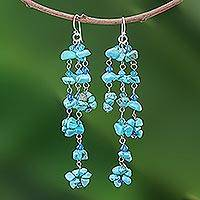 Turquoise cluster earrings, 'Quiet Rain'