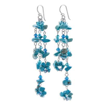 Turquoise cluster earrings, 'Quiet Rain' - Beaded Reconstituted Turquoise Earrings