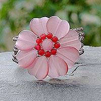 Beaded cuff bracelet, 'Sweetheart Blossom' - Beaded cuff bracelet