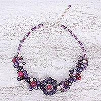 Pearl and amethyst choker, 'Fireside' - Beaded Amethyst and Pearl Necklace