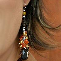 Pearl and carnelian cluster earrings, 'Clusters of Honeydrops' - Pearl and carnelian cluster earrings