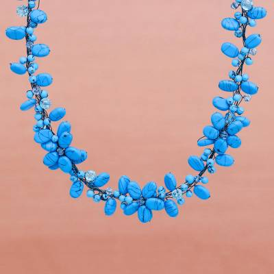 Choker, 'Wish of Blue' - Handmade Floral Beaded Necklace