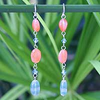 Carnelian dangle earrings, 'Precious' - Carnelian dangle earrings