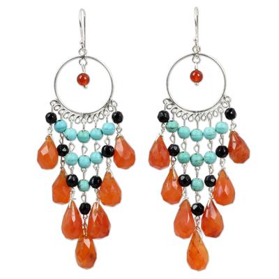 Carnelian chandelier earrings, 'Ginger Ruffles' - Thai Beaded Carnelian Chandelier Earrings