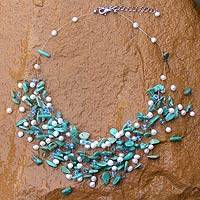 Pearl and turquoise beaded necklace, 'Tropical Cloudfall'