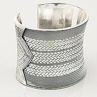 Sterling silver cuff bracelet, 'Distinction'