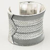 Sterling silver cuff bracelet, 'Distinction' - Sterling Silver Cuff Bracelet