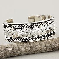 Sterling silver cuff bracelet, 'Merit' - Sterling Silver Cuff Bracelet