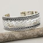 Sterling Silver Cuff Bracelet, 'Merit'