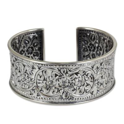 Sterling silver cuff bracelet, 'Renewal' - Floral Silver Cuff Bracelet