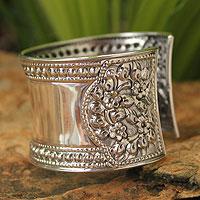 Sterling silver cuff bracelet, 'Jasmine Lake' - Unique Floral Sterling Silver Cuff Bracelet