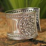 Unique Floral Sterling Silver Cuff Bracelet, 'Jasmine Lake'