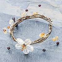 Citrine and garnet floral bracelet, 'Song of Summer' - Handcrafted Floral Beaded Citrine Bracelet