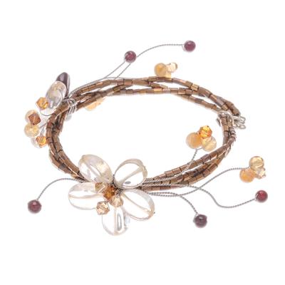 Handcrafted Floral Beaded Citrine Bracelet