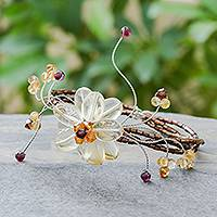 Citrine and garnet wrap bracelet, 'Honey Flower' - Citrine and garnet wrap bracelet