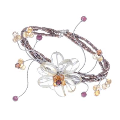 Citrine and garnet wrap bracelet