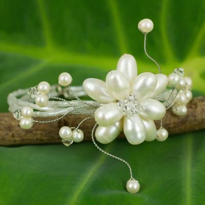 Pearl wrap bracelet, 'Pearl Flower' - Bridal Pearl Bracelet
