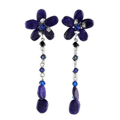 Lapis lazuli floral earrings, 'Blue Bouquet' - Beaded Lapis Lazuli Dangle Earrings