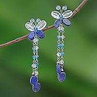 Lapis lazuli waterfall earrings, 'Song of Summer' - Hand Crafted Lapis Lazuli Waterfall Earrings