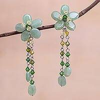 Sterling silver dangle earrings, 'Rosebud Bouquet' - Floral Beaded Quartz Earrings