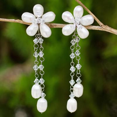 Pearl flower earrings, 'Bouquet of Pearls' - Handcrafted Bridal Pearl Earrings
