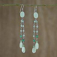 Sterling silver waterfall earrings, 'Green Rain Shower' - Handmade Quartz Waterfall Earrings