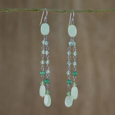 Sterling silver waterfall earrings, Green Rain Shower