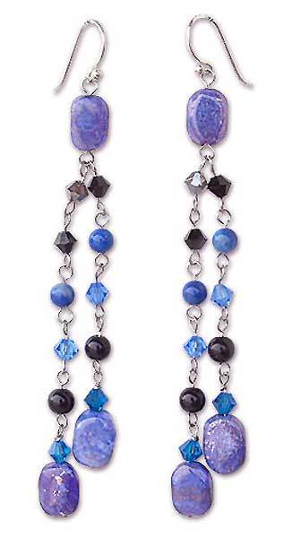 Lapis lazuli earrings, 'Blue Rain Shower' - Fair Trade Lapis Lazuli Dangle Earrings