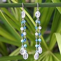 Waterfall earrings, 'Spring Shower' - Beaded Topaz and Turquoise Waterfall Earrings
