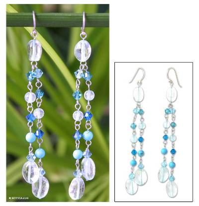 Waterfall earrings, 'Spring Shower' - Beaded Topaz Earrings from Thailand