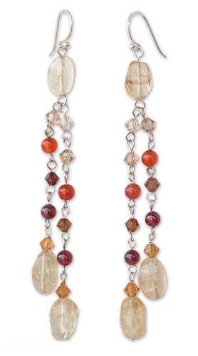 Citrine and carnelian dangle earrings