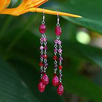 Garnet dangle earrings, 'Rose Shower' - Fair Trade Beaded Garnet and Quartz Earrings