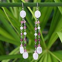 Rose quartz and garnet waterfall earrings, 'Strawberry Shower' - Unique Sterling Silver and Rose Quartz Earrings