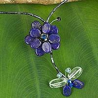 Lapis lazuli flower necklace, 'Song of Summer'