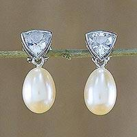 Pearl and topaz drop earrings, 'Sweet Soul'
