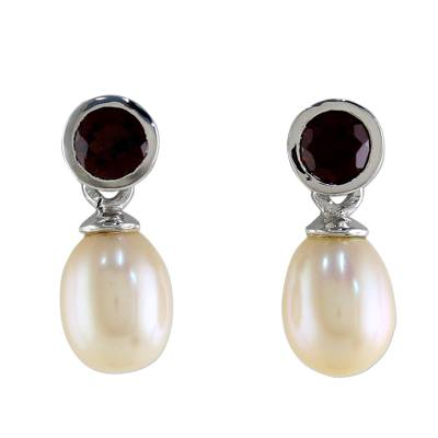 Cultured pearl and garnet drop earrings, 'Halo Light' - Hand Crafted Garnet and Cultured Pearl Earrings