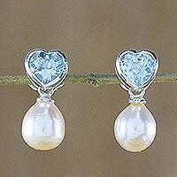 Pearl and topaz heart earrings, 'Blue Hearts'