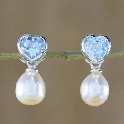 Pearl and topaz heart earrings, 'Blue Hearts' - Pearl and topaz heart earrings