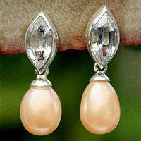 Pearl and topaz dangle earrings, 'Marquise'