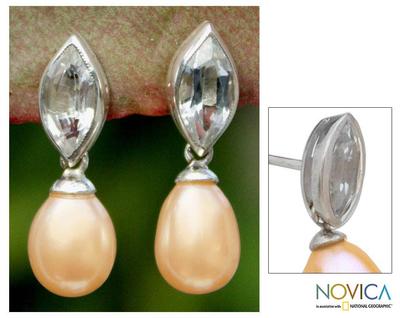 Pearl and topaz dangle earrings, 'Marquise' - Pearl and Blue Topaz Dangle Earrings