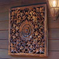 Teak relief panel, 'Antique Blooms' - Teak relief panel