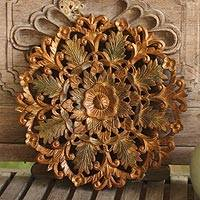 Teak relief panel, 'Antique Flowers' - Floral Wood Relief Panel