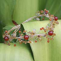Citrine and carnelian choker, 'Summer Forest' - Citrine and carnelian choker
