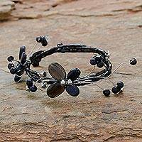 Smoky quartz wrap bracelet, 'Butterfly Bloom' - Floral Beaded Quartz Bracelet