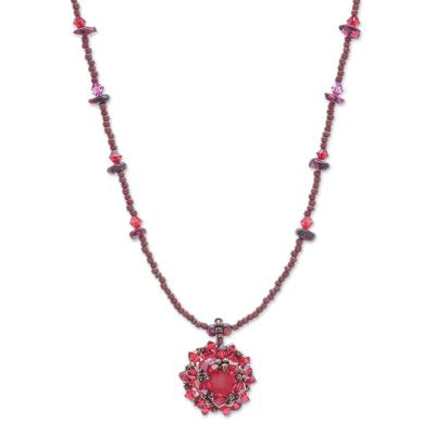Beaded Quartz and Garnet Necklace