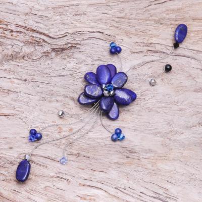 Lapis lazuli brooch pin, 'Blue Bouquet' - Handmade Floral Lapis Lazuli Brooch Pin